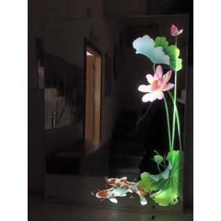Gương điêu khắc nghệ thuật 3D Hoa sen