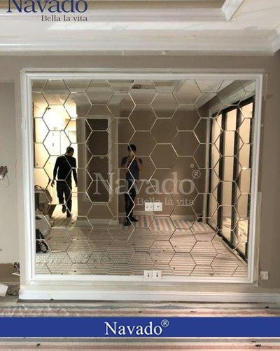 Gương ghép phòng khách lục giác 3D