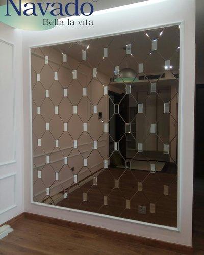 Gương Bỉ ghép tường màu trà