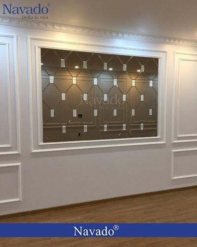 Gương ghép tường nghệ thuật màu trà