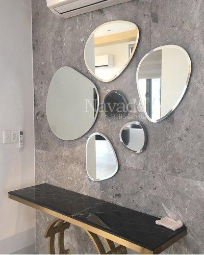 Gương mài trang trí nghệ thuật phòng khách